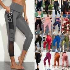Women Yoga Pants Capri Pockets Leggings High Waist Cropped Exercise Trousers C