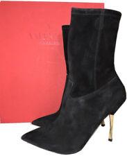 Valentino Garavani Twisteel BOOTIES Black Stretch Suede Ankle BOOTS 39