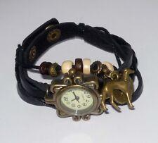 Black Wrap Bracelet Watch w Bronze Heart/Wings + Greyhound Dog Charms