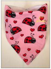 Baby Girl Bandana Dribble Bib Bibs - Ladybird Fabric - Food Burp Nappy Fleece