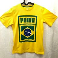 PUMA Brazil Mens Soccer Shirt Blazing Yellow and Green Size Small