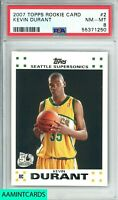 2007 TOPPS Kevin Durant #2 ROOKIE CARD RC SEATTLE SUPERSONICS PSA 8 NM-MT