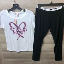 Victorias Secret Womens Size Small Logo Legging and Tee Set NEW