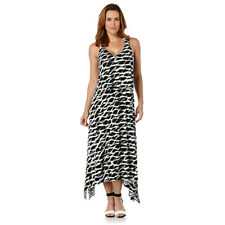Rafaella Womens Black White Maxi Dress Sleeveless Aysemmetrical Plus Sz 1X NWT