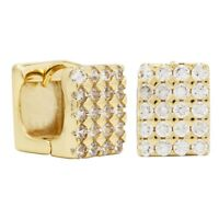 18k Gold Plated Square Hoop Huggie Clear CZ Earrings Ladies or Teens