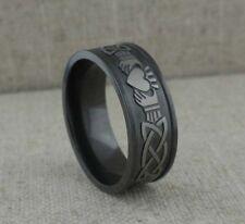 Wide Black Zirconium Celtic Knot & Claddagh Wedding Ring Band Size 6 Lashbrook