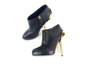 Giuseppe Zanotti Black Leather Gold Heel Booties Boots Size 37 NEW