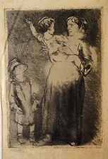 Eau forte originale de Naudin, Mère et enfants