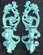 Pair Of Homco Syroco Wall Sconces Candle Holders #4118 Aqua Green
