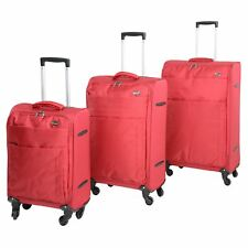 "Set of 3 Jam Voyager 19"" 24"" 28"" Super Light Trolley Cases Suitcases Luggage Red"