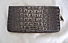 Brahmin Skyler Croc Travel Passport Umbra Leather Wallet Clutch