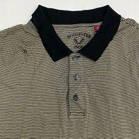 Rochester Polo Shirt Men's Size 3X Short Sleeve Black Tan Striped 100% Cotton