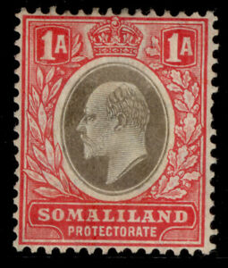 SOMALILAND PROTECTORATE EDVII SG46a, 1a grey-black & red M MINT. Cat £25. CHALKY