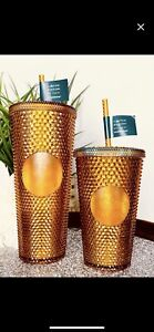 Sold out! Starbucks 50th Anniversary 16oz & 24oz Studded Tumbler Gold/Copper
