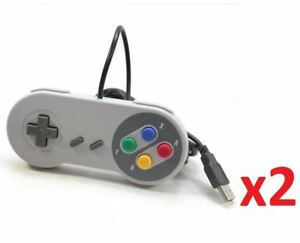 2x USB Retro Super Nintendo SNES Controller Joypads for Win PC/MAC Gamepad