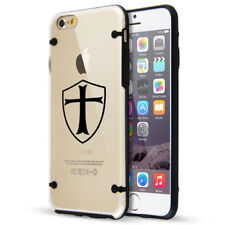 For iPhone SE 5s 6 6s 7 8 Plus Clear TPU Hard Case Templar Shield Knight Cross