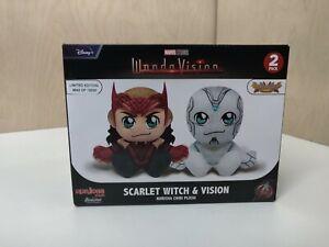 Marvel Wandavision Scarlet Witch & Vision Kuricha Chibi Plush Set Disney - New