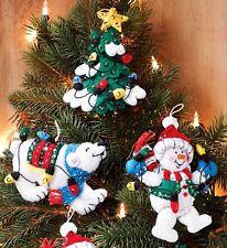 Bucilla Snowman & Polar Bear ~ 6 Pce Felt Christmas Ornament Kit #86365 New 2012