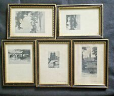 5 Framed Etchings Of Paris In Gold & Ebony Frames.