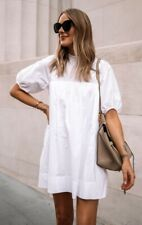 Everlane ☆ The Shirred Mini Dress in %100 Cotton White Oversized with Pockets