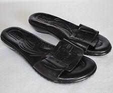 9f6729204f4199 Born Buckle Slides Women 6 36.5 Black Leather Low Wedge Heel Slip On Sandal  Shoe