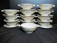 Homer Laughlin Eggshell Nautilus L42N5 12 Footed Cream Soup Bowls & 11 Saucers