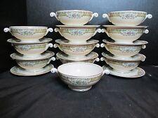 Homer Laughlin Eggshell Nautilus L42N5 12 Footed Cream Soup Bowls & 11 Saucers