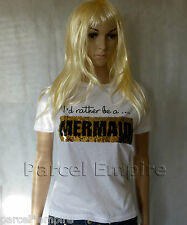 FREE NEXT-DAY I'd Rather Be a MERMAID UNICORN Sequin TShirt Present XMas Gift UK