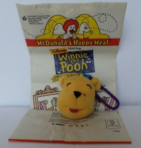 Disney Winnie the Pooh McDonald's Soft Toy 1999 #1 Pooh with Happy Meal Bag