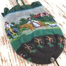 Antique Micro Beaded Purse Reticule Drawstring Farmer Scenic Leather Lined Vtg