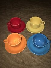 4 Colorful Fiesta Cups and Saucers (Lot C)