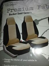 FH Group Premium Fabric Black & Tan Front Bucket Seat Covers (Set of 2)
