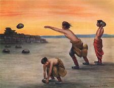 'Tibetan games. Stone-throwing' by Arnold Henry Savage Landor. Tibet 1905