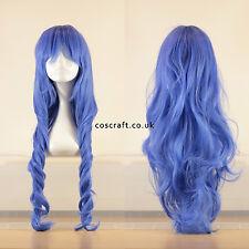 Rouleau long ondulés bouclés cosplay perruque en bleu indigo, vendeur britannique, style Jeri