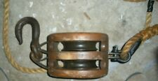 Vintage Wooden Pulley With Large Rope & Hook