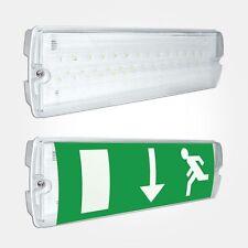 Eterna EMLED3M LED Maintained Emergency Bulkhead Emergency Exit Sign IP65 White