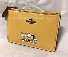 Coach x Peanuts 16108B Boxed Snoopy Mini Skinny ID Case Wallet YELLOW GOLD NWT