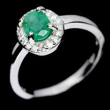 TOP EMERALD RING : Natürlicher Grün Smaragd Ring Gr. 17,9 Sterlingsilber R723