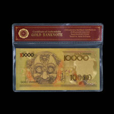 1975 Indonesia $10000 Rupiah 24K Gold Plated Banknote