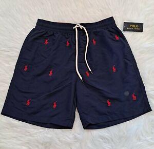 Polo Ralph Lauren Mens Small Navy Swim Trunks Multiple Red Pony NEW NWT