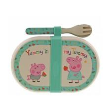 Peppa Pig Bamboo Snack Box Cutlery Set Children Eco Friendly Lunch Portable Gift