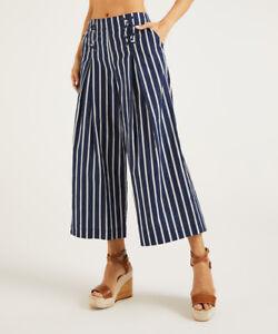 NEW ❤SUZANNE BETRO WEEKEND❤ Navy/White Stripe Wide-Leg Crop Pants PLUS SZ 4X 24
