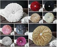 Luxury Crushed Velvet Cushions Diamante Chic Small & Large Round Filled Cushion
