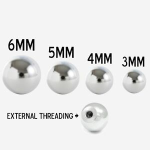 Replacement Beads Treaded For Body Jewelry 14g Surgical Steel 10 Pack