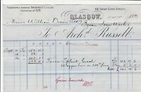 Archd. Russell Great Clyde Street Glasgow 1891 Ironworks  Invoice Ref 40743