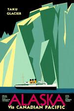 Alaska Via Canadian Pacific - Taku Glacier - 1930's - Travel Poster