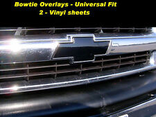 2 - Black Overlay Wrap Vinyl Sheets Chevy Universal Grille Emblem Bowtie Decal