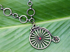Penny-farthing Bicycle Necklace-Large antiqued bronze pendant w/ crystal accents