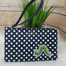 Kate Spade Enchanted Forest Wristlet iPhone Wallet Polka Dot Worm $129 Blue