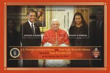 Antigua and Barbuda Pres. Barack Obama meets Pope sheetlet, MNH SC# 3045